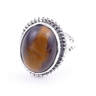 58201-11 ADJUSTABLE 20 X 16 MM SILVER RING WITH STONE IN TIGER'S EYE