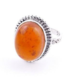 58201-12 ADJUSTABLE 20 X 16 MM SILVER RING WITH STONE IN AMBER