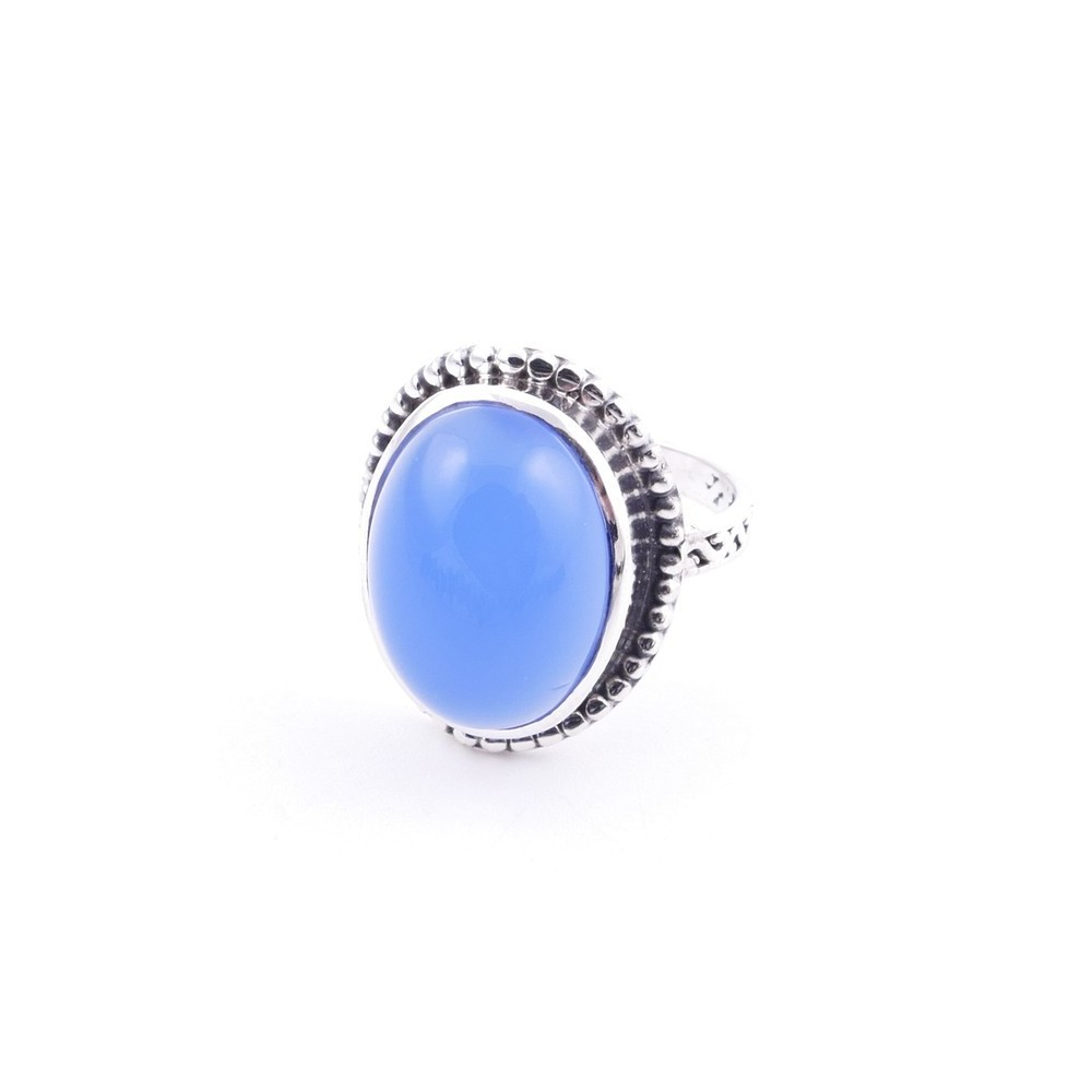 58201-15 ADJUSTABLE 20 X 16 MM SILVER RING WITH STONE IN BLUE ONYX