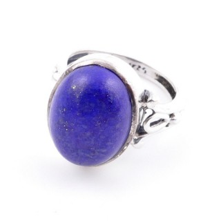 58202-02 ADJUSTABLE 17 X 14 MM SILVER RING WITH STONE IN LAPIS LAZULI