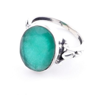 58202-03 ADJUSTABLE 17 X 14 MM SILVER RING WITH STONE IN EMERALD