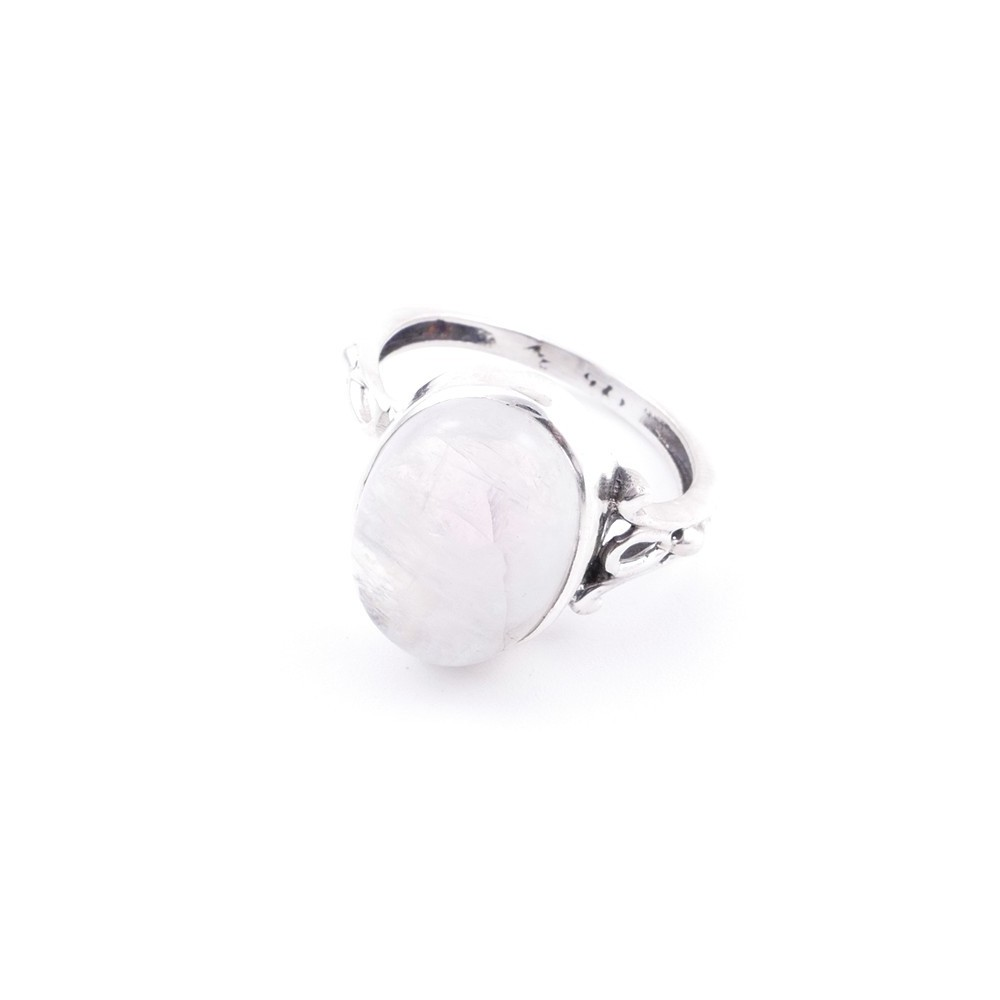 58202-05 ADJUSTABLE 17 X 14 MM SILVER RING WITH MOONSTONE