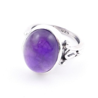58202-06 ADJUSTABLE 17 X 14 MM SILVER RING WITH STONE IN AMETHYST
