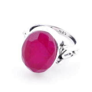 58202-09 ADJUSTABLE 17 X 14 MM SILVER RING WITH STONE IN RUBY