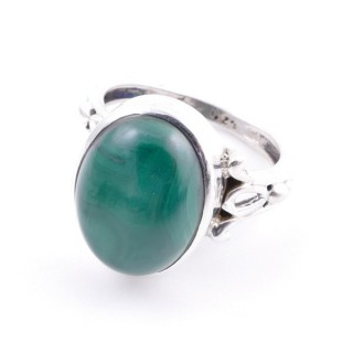58202-10 ADJUSTABLE 17 X 14 MM SILVER RING WITH STONE IN MALACHITE