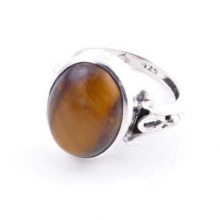 58202-11 ADJUSTABLE 17 X 14 MM SILVER RING WITH STONE IN TIGER'S EYE