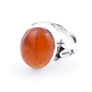 58202-12 ADJUSTABLE 17 X 14 MM SILVER RING WITH STONE IN AMBER