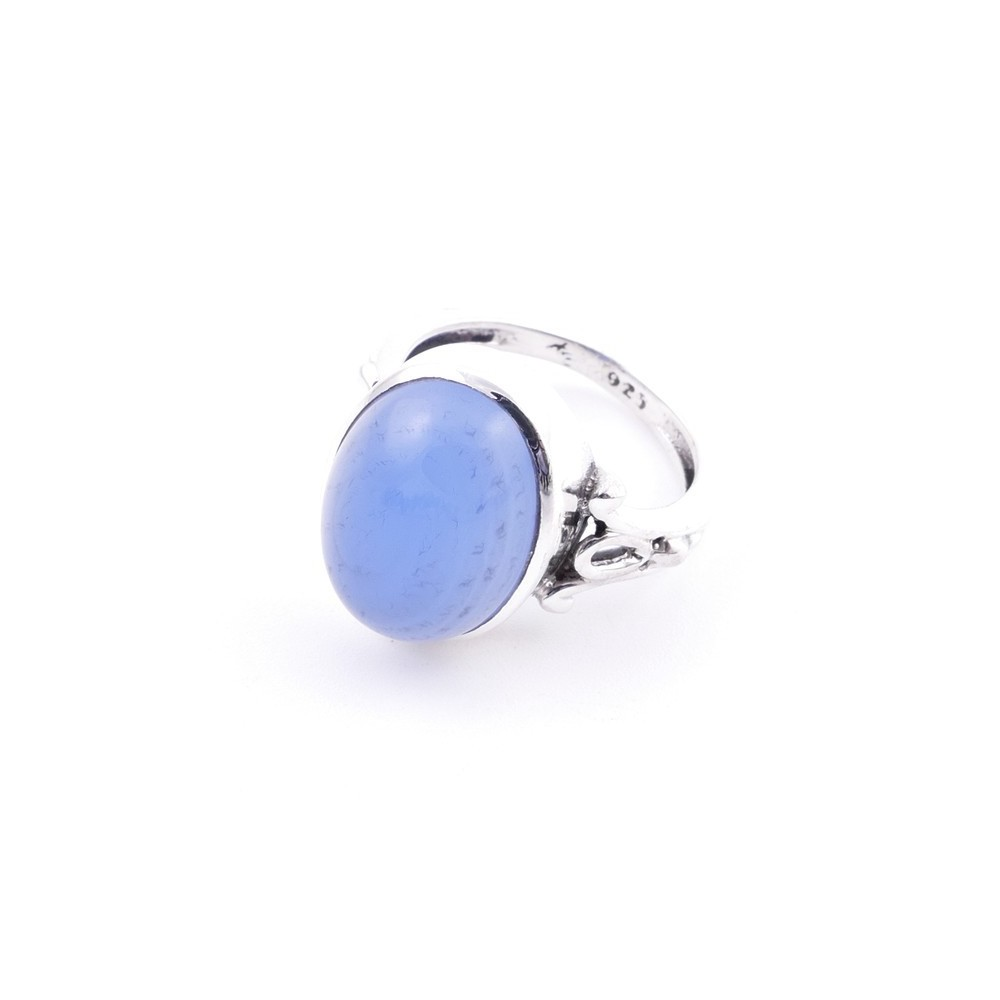 58202-15 ADJUSTABLE 17 X 14 MM SILVER RING WITH STONE IN BLUE ONYX