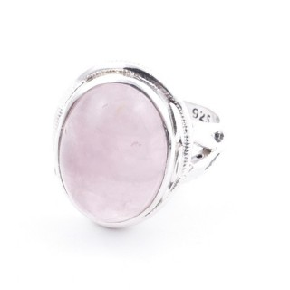 58203-01 ADJUSTABLE 19 X 16 MM SILVER RING WITH STONE IN ROSE QUARTZ