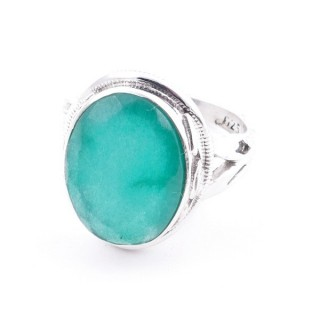 58203-03 ADJUSTABLE 19 X 16 MM SILVER RING WITH STONE IN EMERALD