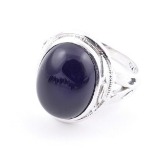 58203-04 ADJUSTABLE 19 X 16 MM SILVER RING WITH STONE IN ONYX