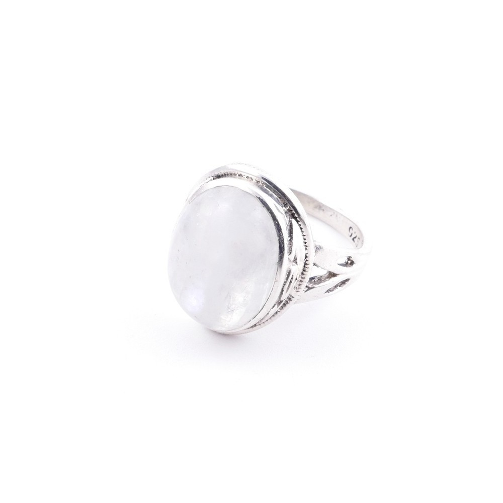 58203-05 ADJUSTABLE 19 X 16 MM SILVER RING WITH MOONSTONE