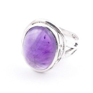 58203-06 ADJUSTABLE 19 X 16 MM SILVER RING WITH STONE IN AMETHYST