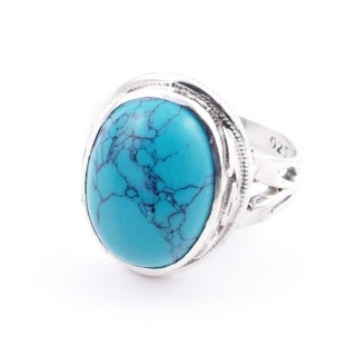 58203-07 ADJUSTABLE 19 X 16 MM SILVER RING WITH STONE IN TURQUOISE
