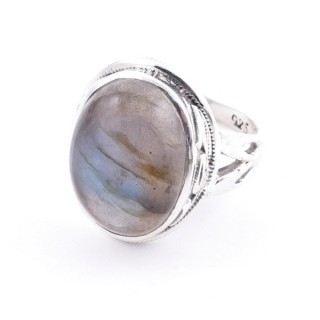 58203-08 ADJUSTABLE 19 X 16 MM SILVER RING WITH STONE IN LABRADORITE