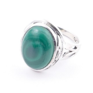 58203-10 ADJUSTABLE 19 X 16 MM SILVER RING WITH STONE IN MALACHITE