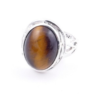 58203-11 ADJUSTABLE 19 X 16 MM SILVER RING WITH STONE IN TIGER'S EYE