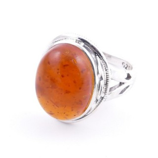 58203-12 ADJUSTABLE 19 X 16 MM SILVER RING WITH STONE IN AMBER
