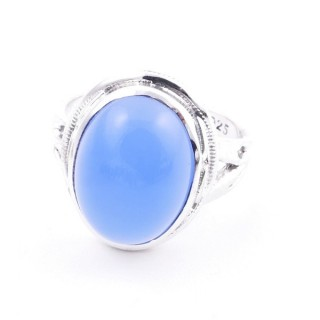 58203-15 ADJUSTABLE 19 X 16 MM SILVER RING WITH STONE IN BLUE ONYX