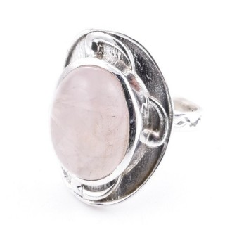 58204-01 ADJUSTABLE 25 X 19 MM SILVER RING WITH STONE IN ROSE QUARTZ