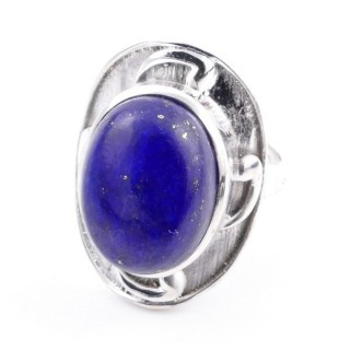 58204-02 ADJUSTABLE 25 X 19 MM SILVER RING WITH STONE IN LAPIS LAZULI