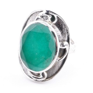 58204-03 ADJUSTABLE 25 X 19 MM SILVER RING WITH STONE IN EMERALD