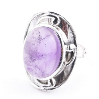 58204-06 ADJUSTABLE 25 X 19 MM SILVER RING WITH STONE IN AMETHYST