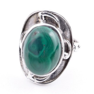 58204-10 ADJUSTABLE 25 X 19 MM SILVER RING WITH STONE IN MALACHITE