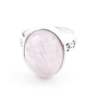 58205-01 ADJUSTABLE 17 X 13 MM SILVER RING WITH STONE IN ROSE QUARTZ