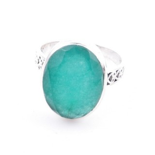 58205-03 ADJUSTABLE 17 X 13 MM SILVER RING WITH STONE IN EMERALD