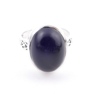 58205-04 ADJUSTABLE 17 X 13 MM SILVER RING WITH STONE IN ONYX