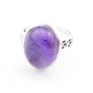 58205-06 ADJUSTABLE 17 X 13 MM SILVER RING WITH STONE IN AMETHYST