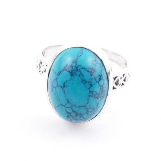 58205-07 ADJUSTABLE 17 X 13 MM SILVER RING WITH STONE IN TURQUOISE