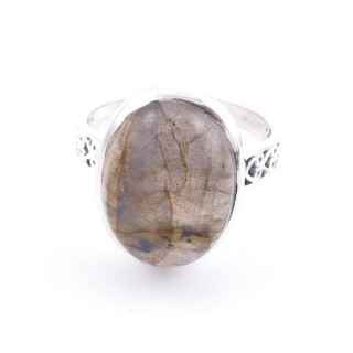58205-08 ADJUSTABLE 17 X 13 MM SILVER RING WITH STONE IN LABRADORITE