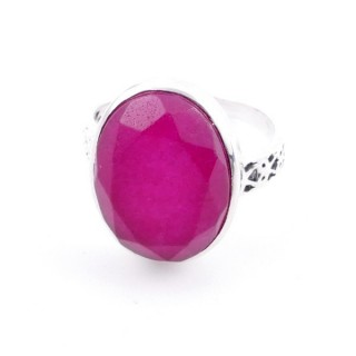 58205-09 ADJUSTABLE 17 X 13 MM SILVER RING WITH STONE IN RUBY