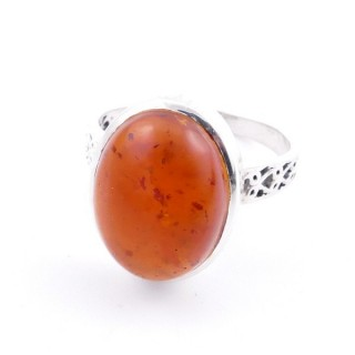 58205-12 ADJUSTABLE 17 X 13 MM SILVER RING WITH STONE IN AMBER