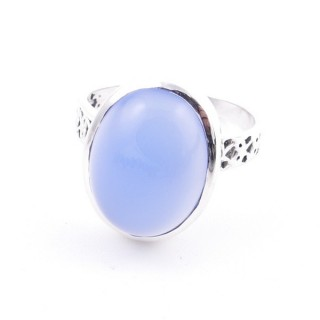 58205-15 ADJUSTABLE 17 X 13 MM SILVER RING WITH STONE IN BLUE ONYX
