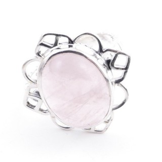 58206-01 ADJUSTABLE 23 X 22 MM SILVER RING WITH STONE IN ROSE QUARTZ