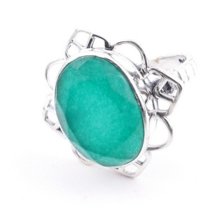 58206-03 ADJUSTABLE 23 X 22 MM SILVER RING WITH STONE IN EMERALD