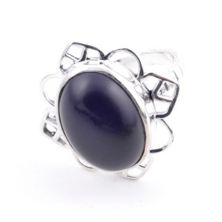 58206-04 ADJUSTABLE 23 X 22 MM SILVER RING WITH STONE IN ONYX