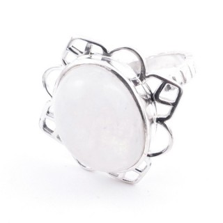 58206-05 ADJUSTABLE 23 X 22 MM SILVER RING WITH MOONSTONE