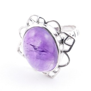 58206-06 ADJUSTABLE 23 X 22 MM SILVER RING WITH STONE IN AMETHYST