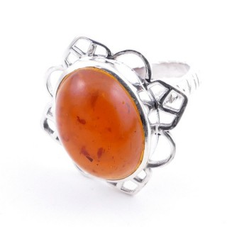 58206-12 ADJUSTABLE 23 X 22 MM SILVER RING WITH STONE IN AMBER