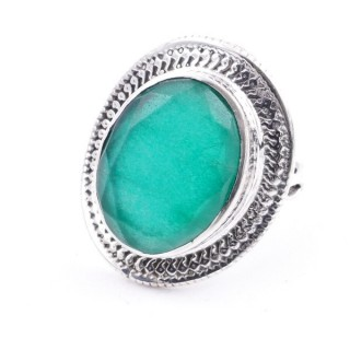 58207-03 ADJUSTABLE 24 X 19 MM SILVER RING WITH STONE IN EMERALD