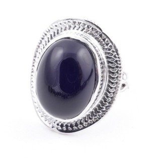 58207-04 ADJUSTABLE 24 X 19 MM SILVER RING WITH STONE IN ONYX