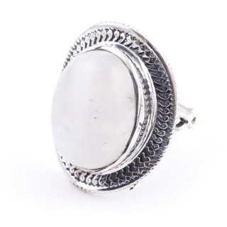 58207-05 ADJUSTABLE 24 X 19 MM SILVER RING WITH MOONSTONE