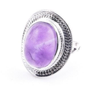 58207-06 ADJUSTABLE 24 X 19 MM SILVER RING WITH STONE IN AMETHYST