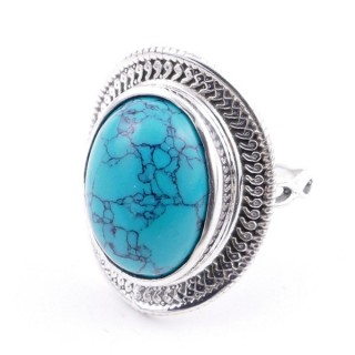 58207-07 ADJUSTABLE 24 X 19 MM SILVER RING WITH STONE IN TURQUOISE