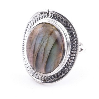 58207-08 ADJUSTABLE 24 X 19 MM SILVER RING WITH STONE IN LABRADORITE