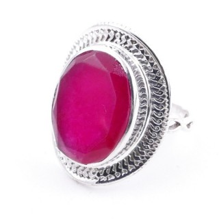 58207-09 ADJUSTABLE 24 X 19 MM SILVER RING WITH STONE IN RUBY